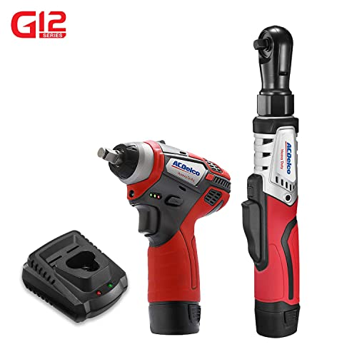 ACDelco G12 Series 2-Tool Combo Kit- 3 8 in. Brushless Ratchet Wrench 3 8 in. Power Impact Wrench, two battery, charger, ARW12103-K1