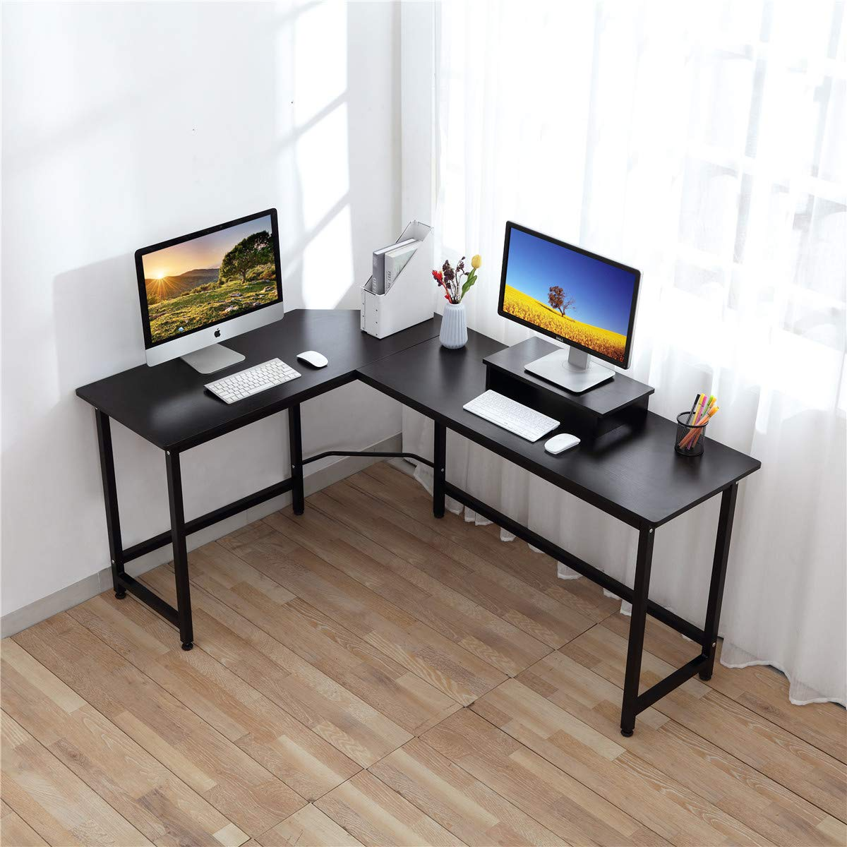 Computer Desk - CrazyLynX Corner Desk PC Workstation Table with Monitor Stand for PC Laptop, for Home Office, Wood & Metal (Black)