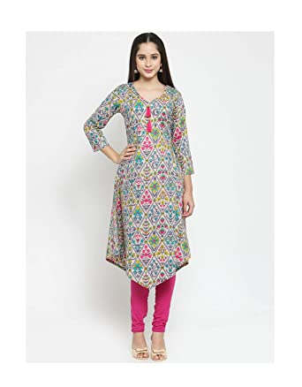 df420830f0584 Amazon.com  Hiral Designer Mall women Kurtis Indian party ware Readymade  3 4Sleeve Printed A-Line Kurta Tunic Top for Women  Clothing