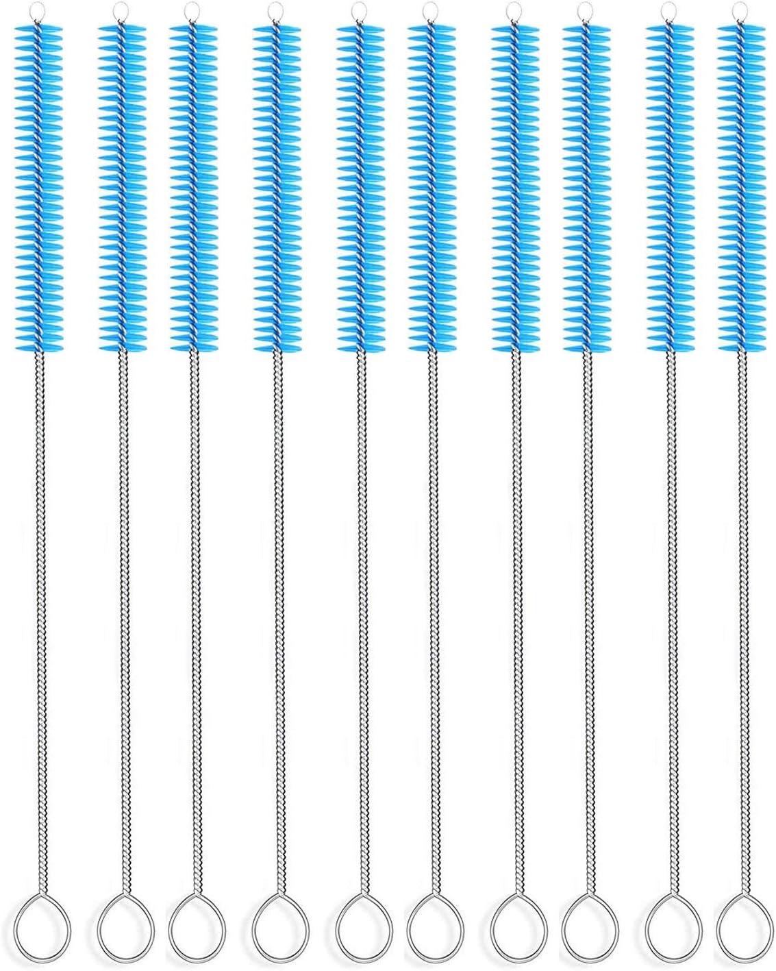 Long Straw Brush, Nylon Pipe Tube Cleaner 10-ihch X 2/5-inch Set of 10 (Blue)