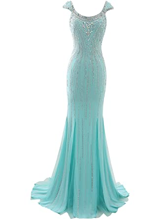 Licheng Bridal Rhinestones Mermaid Prom Dress Long Womens Evening Party GownsMint US2