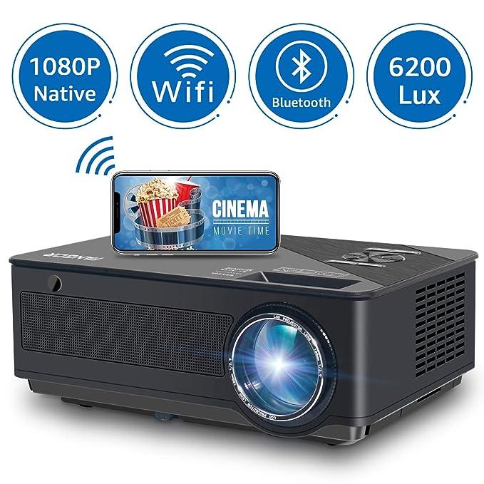 Proyector FANGOR 6200 Lúmenes Proyector Full HD 1080P Nativo Cine en Casa Soporta 4K Corrección Tropezoidal, 80000 Horas, Compatible con HDMI/USB/Tarjeta SD/VGA/AV/TV Box