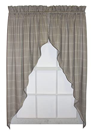 Morrison Plaid Check Print Swags / Jabot Curtains Pair 90 Inch By 63