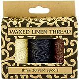 Lineco Waxed Linen Thread 3Pk Ntrl/Blk/Brwn