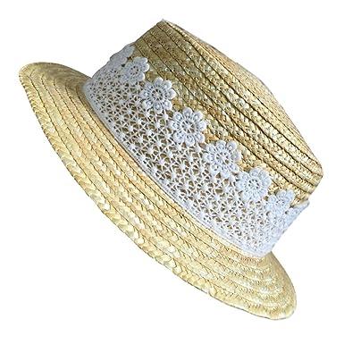 3197da084a6 Cupcinu Girls Children Kids Summer Sun Beach Straw Hat White Lace  Decoration Sun Cap Hats Foldable