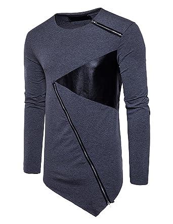 YCHENG Herren Rundhals Langarmshirt Hip Hop Oversize Lange T-Shirt mit Reißverschluss  Asymmetrische Grau 2