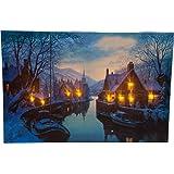 HEITRONIC LED Bild WINTERAMBIENTE Leuchtbild Leinwand Winterbild beleuchtet