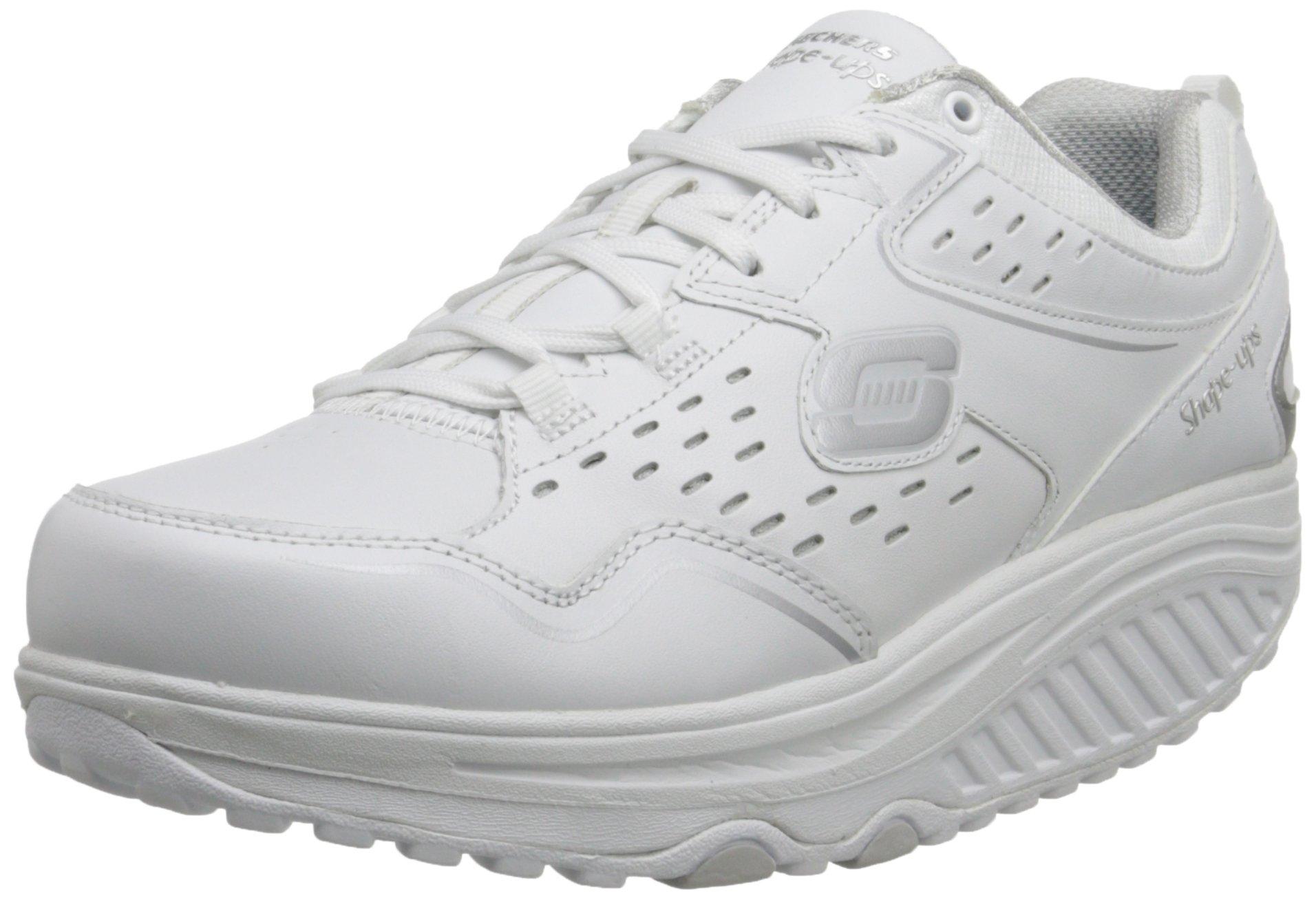 Skechers Women's Shape Ups 2.0 Perfect Comfort Fashion Sneaker, White/Silver, 9 M US