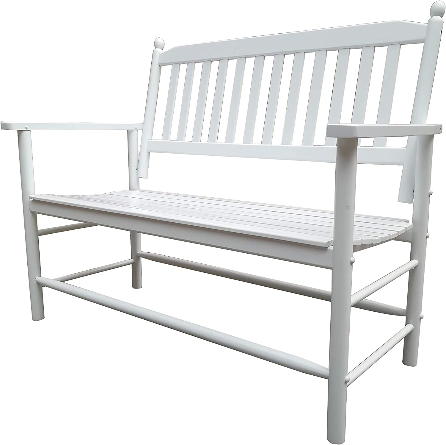 Rockingrocker - A059WT White Outdoor Wood Garden Bench - Suitable for Indoor or Outdoor - Assembled Dimensions:W49.21 x H40.16 x D26.97 inches