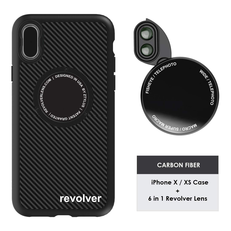 Ztylus Designer Revolver M Series Camera Kit: 6 in 1 Lens + iPhone X/XS Case, Smartphone Lens Kit Accessory- 2X Telephoto Lens, Macro/Super Macro Lens, Fisheye/Wide Angle Lens (Black Carbon Fiber) by Ztylus