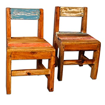 Bunte Holzstühle holzstuhl massivholz 49cm stuhl ablage dekostuhl bunt recycled holz