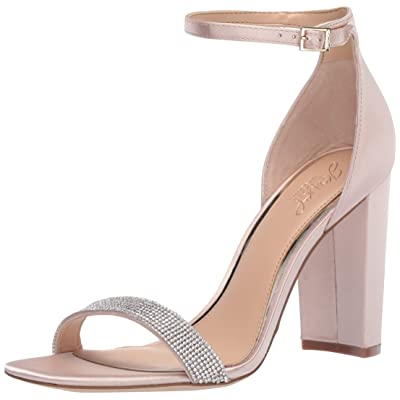Jewel Badgley Mischka Women's KESHIA III Sandal, champagne satin, 7.5 M US | Heeled Sandals