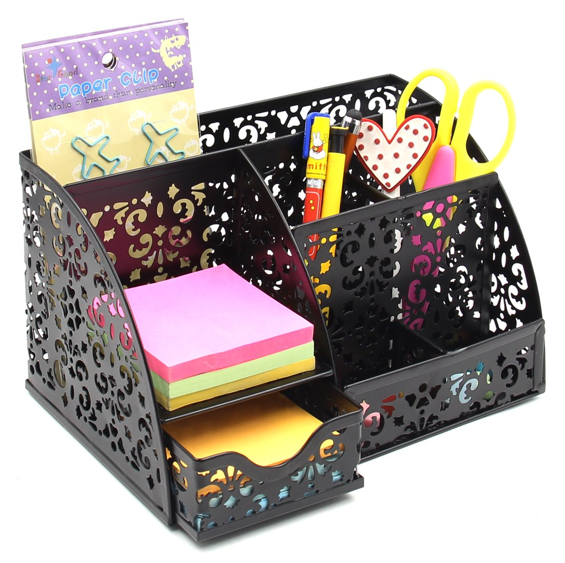 EasyPAG Mesh Desk Organizer Pattern Decoration 6 Compartment with Drawer,Black