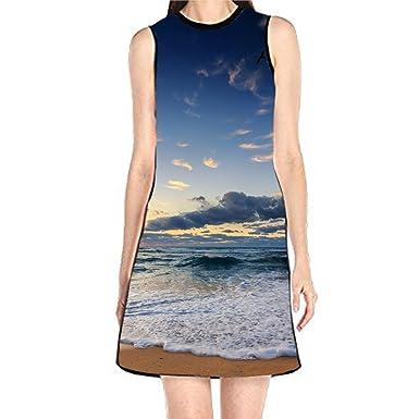 4b295ceddd Keliteu Women s Sleeveless Tank Dresses Sea at Dusk Printed Beach ...
