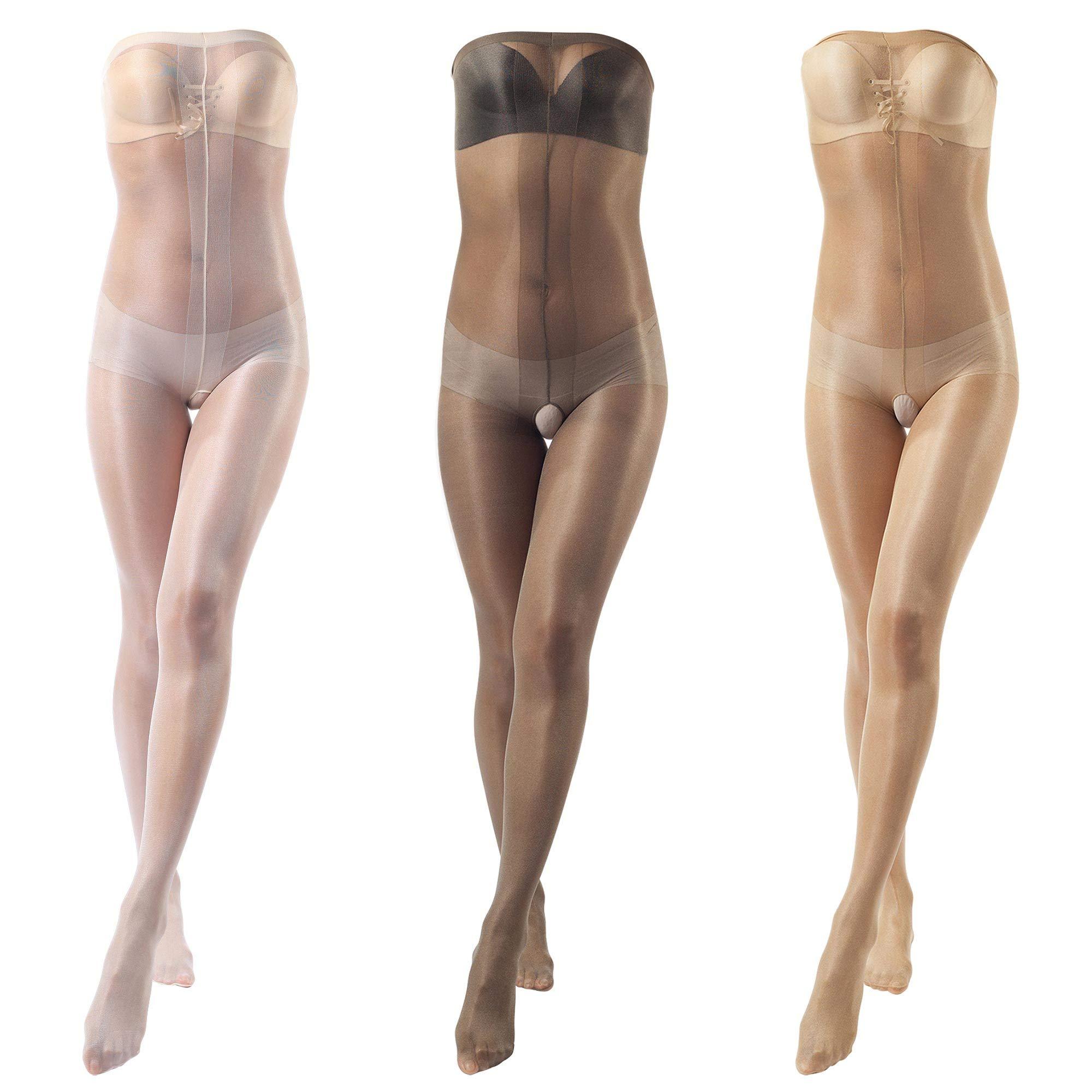 ElsaYX Women's Shiny Toe to Bust Body Stocking Pantyhose Nightwear 3 Pairs - Beige/White/Grey One size:Height 4'9''-5'7''