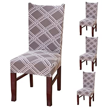 Pack Of 4 Dining Room Chair Covers Removable Elastic Slipcovers Stool Seat Washable Stretchy
