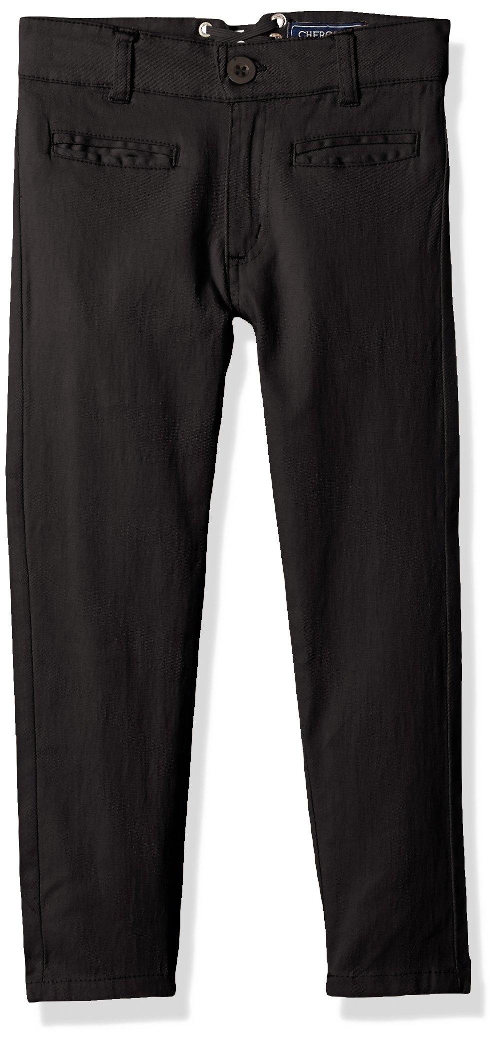 Cherokee Big Girls' Uniform Strectch Twill Skinny Pant with Lace Detail, Black, 12