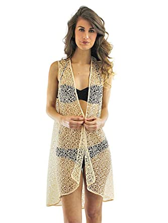 f2a675082bb05 Luxury Divas Beige Long Mesh Beach Cover Up Vest for Swimsuit at Amazon  Women's Clothing store: