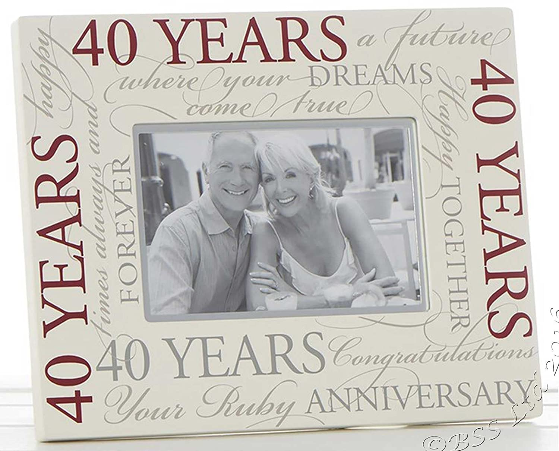 Rubin Hochzeit 40. Jahrestag Script 15,2 x 10,2 cm Bilderrahmen ...