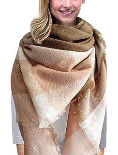 Damenschal Halstuch Tuch Schal Karo Khaki ca.70 cm x 186 cm NEU