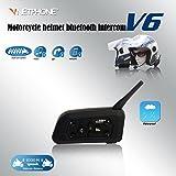 VNETPHONE® - V6 Interfono Bluetooth Moto Cuffie Stereo e Microfono , 1200 metri Distanza Appositamente Progettato per 6 Persone Compatibile con Casco per GPS, Musica e Cellulare
