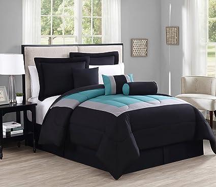 Amazon Com 7 Piece King Rosslyn Black Teal Comforter Set Home