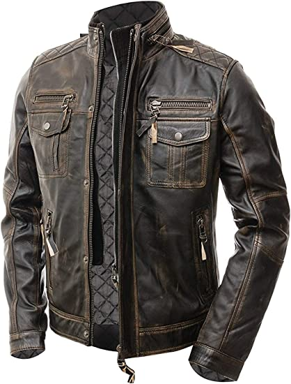 Finest Collections New Mens Button Style Motorcycle Distressed Brown Real Leather Jacket