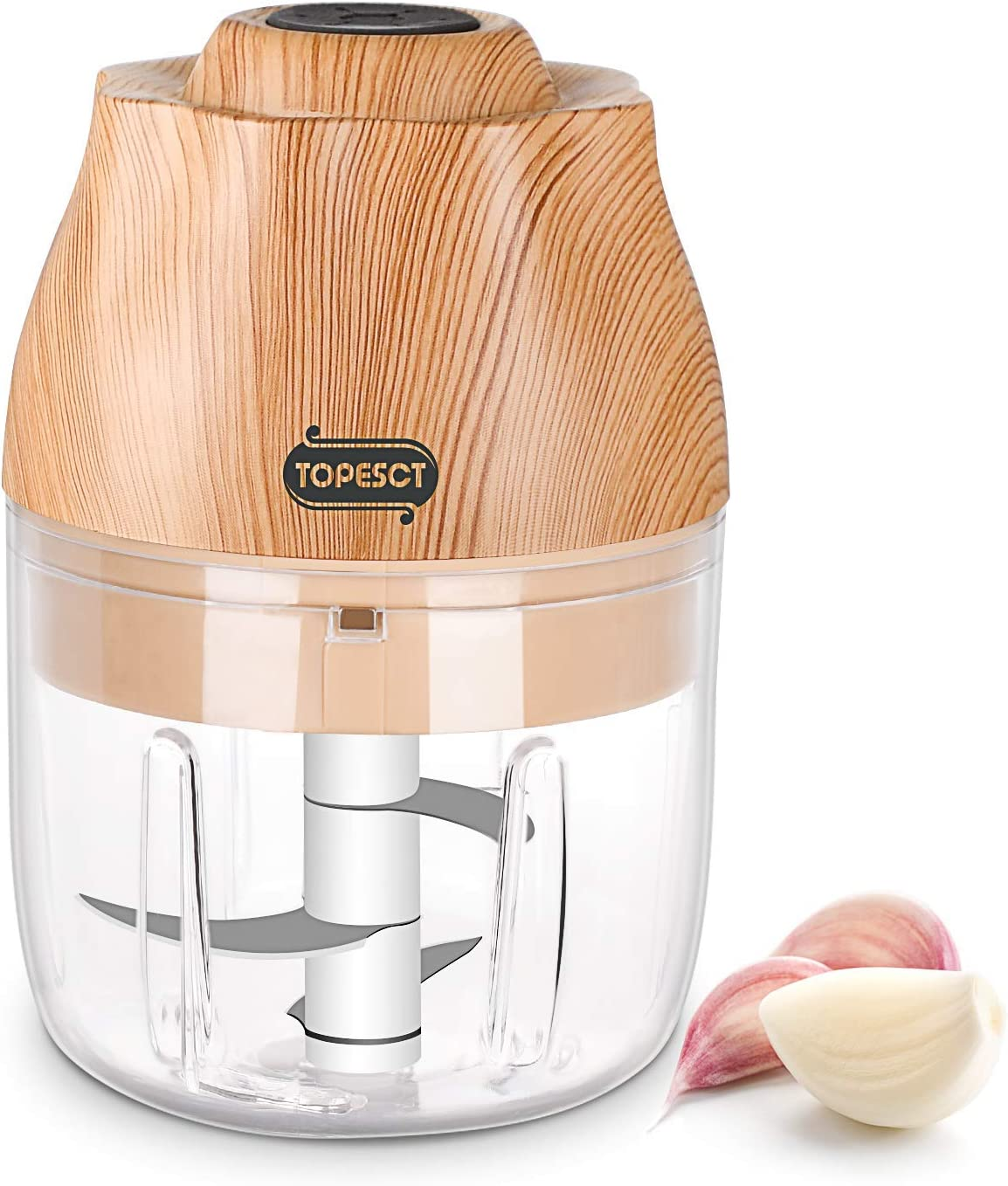 TOPESCT Mini Food Chopper Electric, Kitchen Food Processor and Blender, USB Charging Portable Vegetable Fruit Meat Garlic Onion Ginger Chopper with 3 Sharp Blades Grinder for Baby Food Salad- 250ML