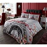 Imagé Parure de lit avec housse de couette taie d'oreiller Parure de lit avec housse de couette, Paris Flower, Double