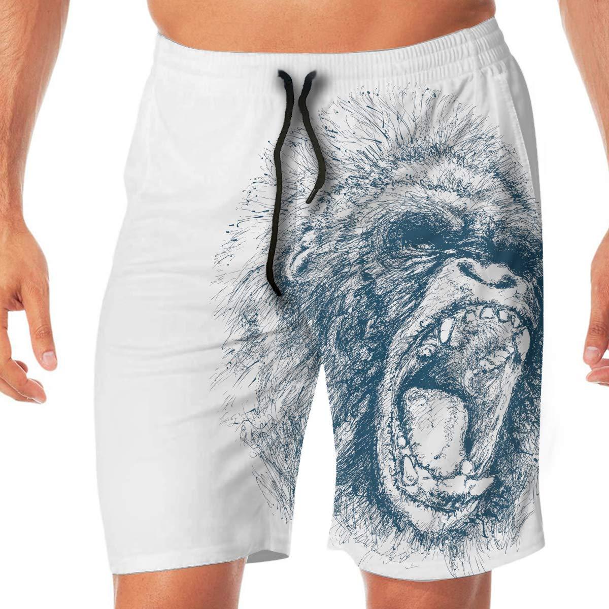 LianLiYa Mens African Gorilla Printed Beach Shorts No Mesh Lining