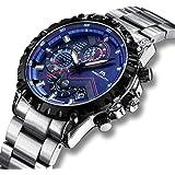 Relojes Hombre Relojes de Pulsera Militares Cronógrafo Impermeable Luminosos Lujo Azul Reloj de Acero Inoxidable Deportivo Calendario Diseñador de Analógico