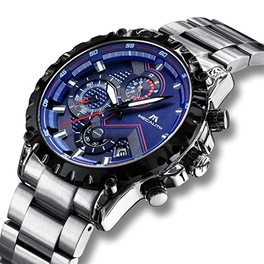 Relojes Hombre Relojes de Pulsera Militares Cronógrafo Impermeable Luminosos Lujo Azul Reloj de Acero Inoxidable Deportivo Calendario Diseñador de ...