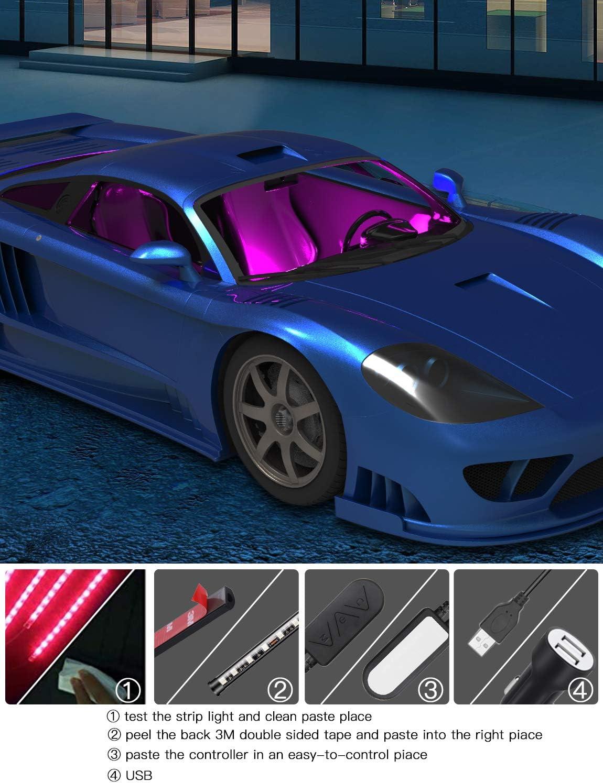Upgraded Car LED Strip Light APP Controlled 4pcs 48 LEDs Waterproof Car Lighting Kits Bawoo Interior Car Lights DC 12V DIY Colour Music with Car Charger