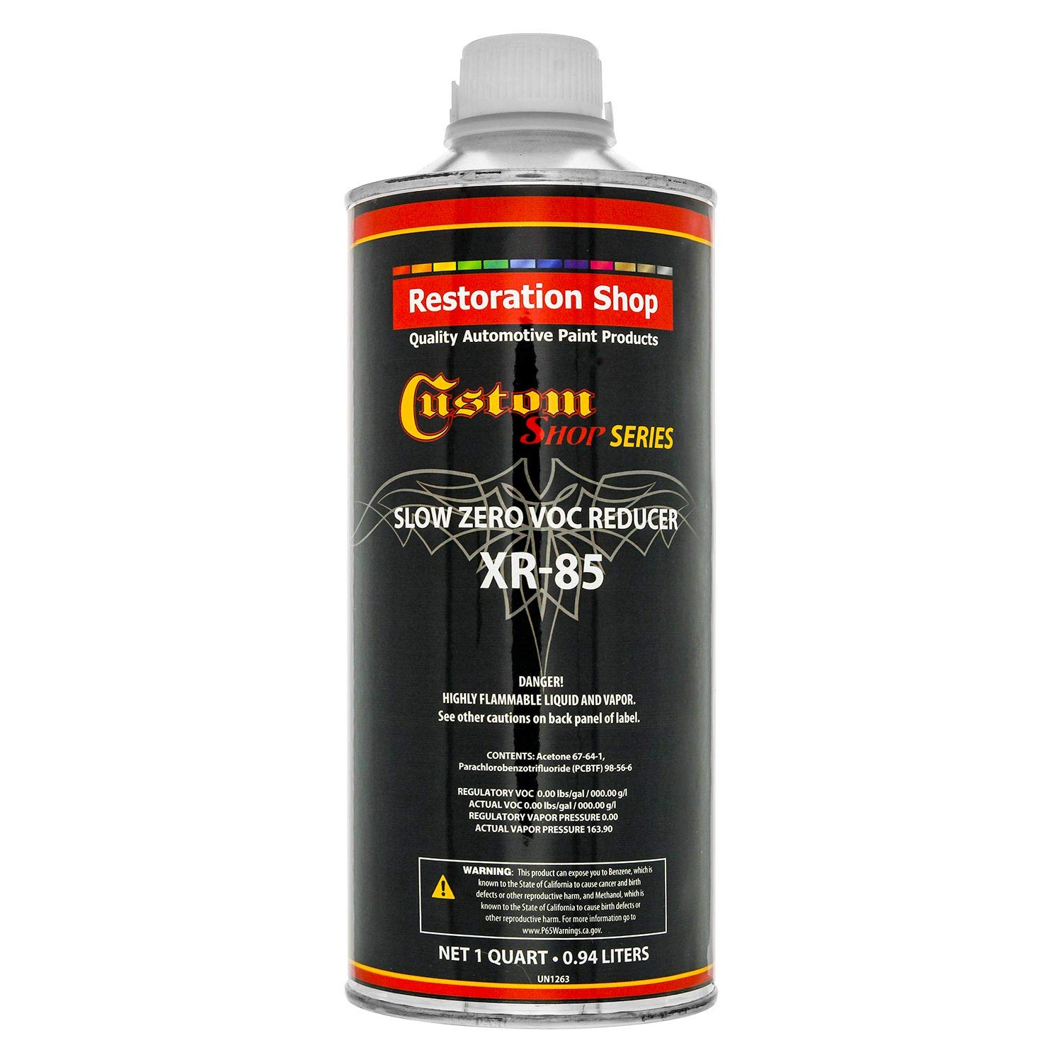 Restoration Shop/Custom Shop - XR85 Slow Zero V.O.C. Urethane Reducer (Quart/32 Ounce) for Automotive Paint and Industrial Paint Use for Low V.O.C. Compliance