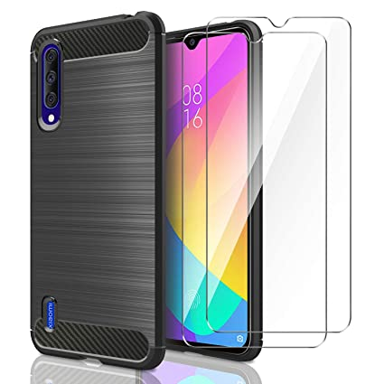AROYI Funda Xiaomi Mi 9 Lite, [2 Pack] Cristal Templado, Carcasa Silicona Fibra de Carbono TPU Alta Resistente y Flexibilidad Fundas Cover Caso para ...