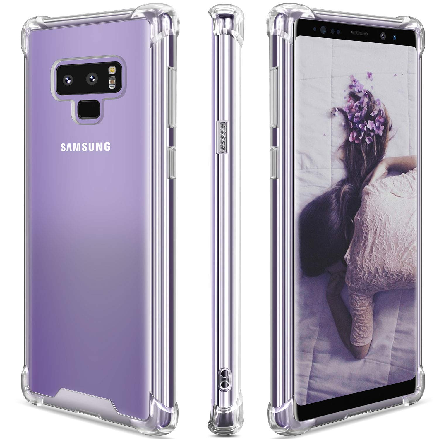 SANKMI Samsung Galaxy Note 9 Case,Clear Note 9 Case Shockproof TPU Bumper Cases Non Slip Scratch Resistant PC Hard Back Protective Case Cover for Galaxy Note 9 - Clear