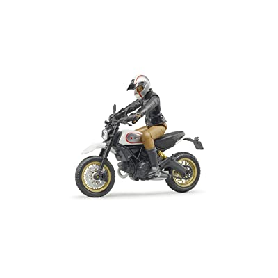 bruder 63051 Ducati Scrambler Desert Sled Motorcycle Bike with Driver Figurine and Accessories: Toys & Games