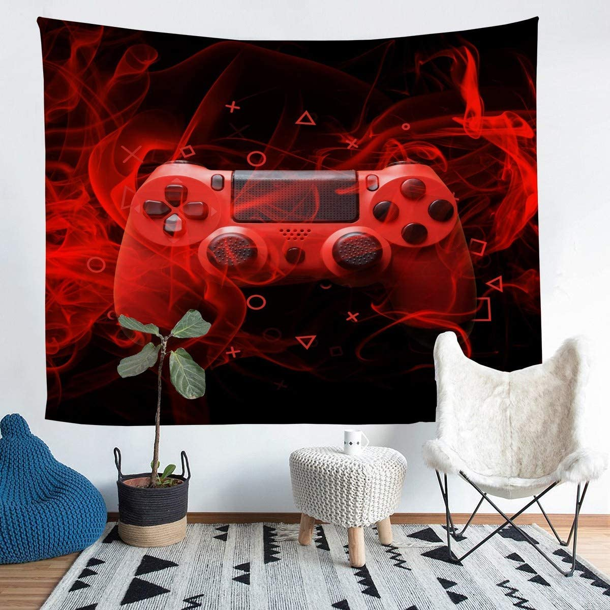 Feelyou Kids Gamepad Wall Blanket Modern Gamer Bedroom Decor for Boys Girls Teens Game Controller Tapestry Youth Gaming Console Wall Hanging Red Black Geometry Room Decor Medium 59x59