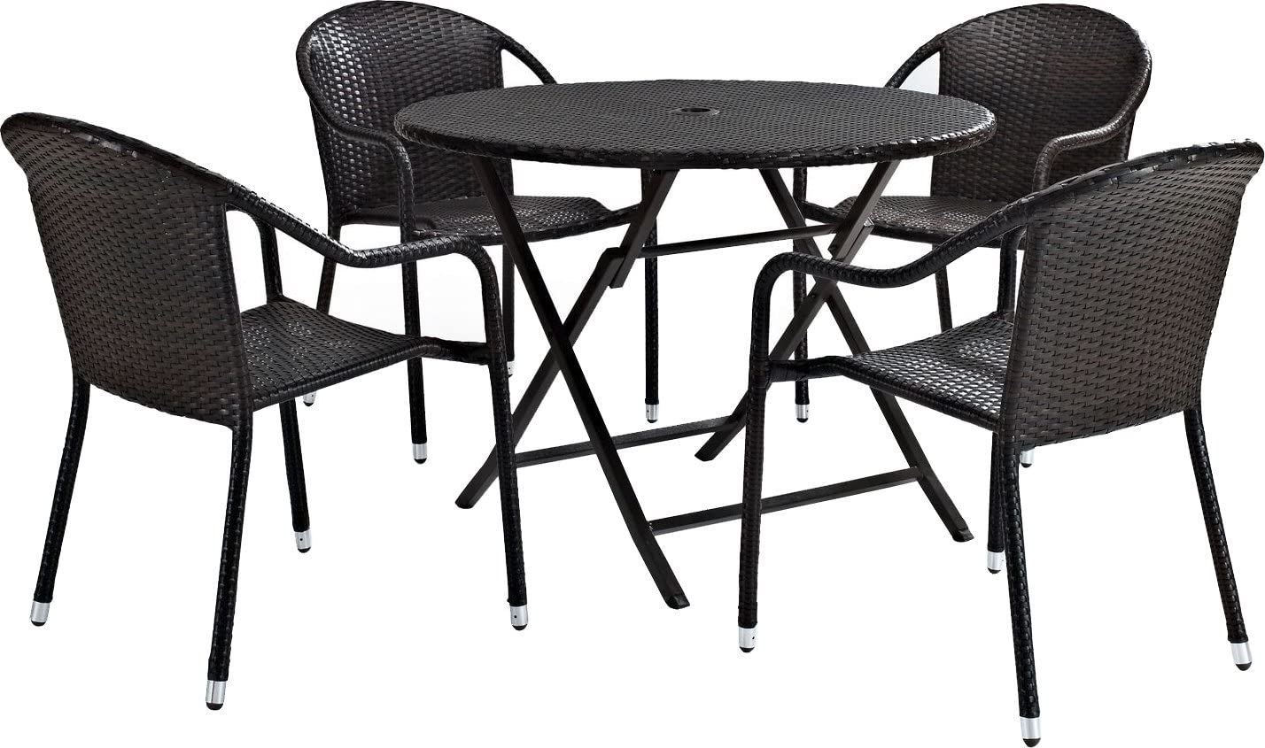 Crosley Furniture Palm Harbor 5-Piece Outdoor Wicker Cafe Dining Set - Brown