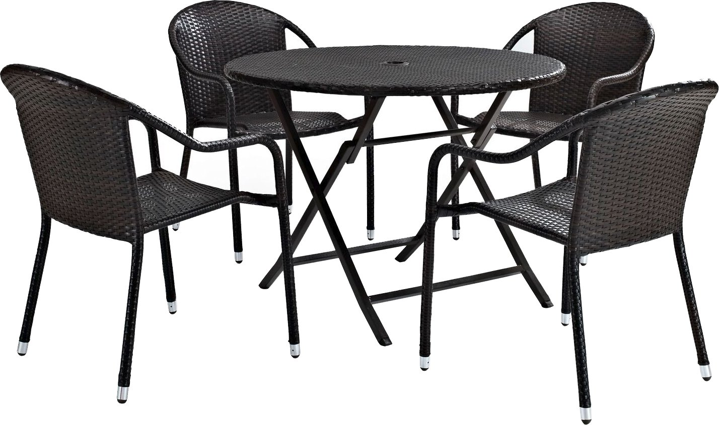 Crosley Furniture Palm Harbor 5-Piece Outdoor Wicker Cafe Dining Set – Brown