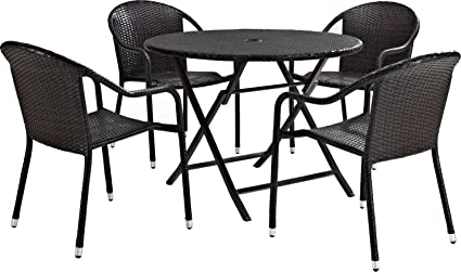 Beau Crosley Furniture KO70012BR Palm Harbor 5 Piece Outdoor Wicker Cafe Dining  Set   Brown