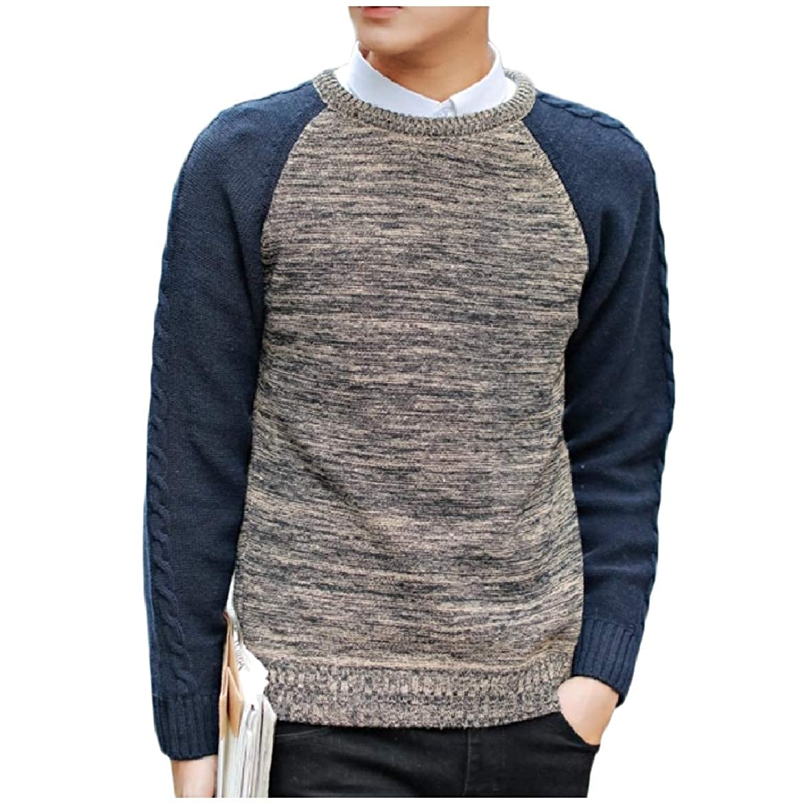 Tootless-Men Assorted Colors Loose Casual Knit Jumper O-Neck Knitwear