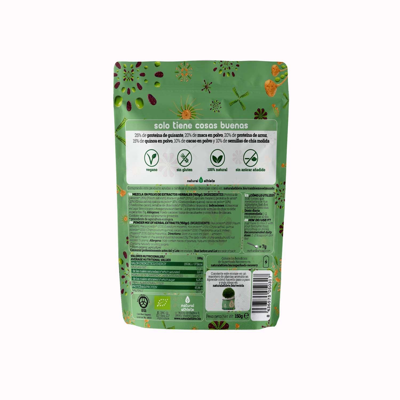 Superfood - Natural Athlete - Extra de energía - 100% Natural y orgánico, sin azúcar añadido. (Recovery)