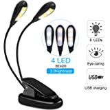 Book Light, HotSan Reading Light Led Clip Reading Light with Eye Protection 3 Level Brightness USB Travel Book Lights for Bed, Rechargeable, Portable,