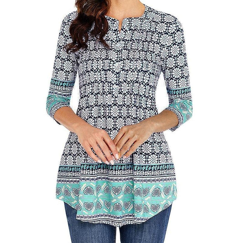 TOPUNDER Women Three Quarter Sleeved T-Shirt Circular Neck Printed Tops Loose Blouse