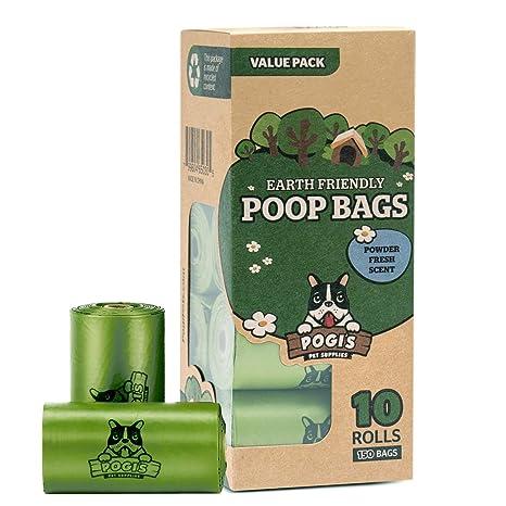 Pogis Poop Bags - Bolsas para excremento de perro - 10 Rollos (150 Bolsas) - Grandes, Biodegradables, Perfumadas, Herméticas