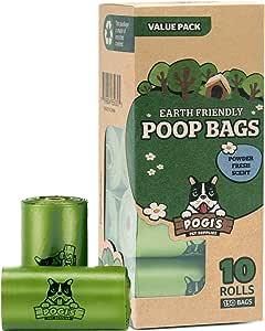 Pogi's Poop Bags - 10 Rolls (150 Bags) - Large, Biodegradable, Scented, Leak-Proof Pet Waste Bags