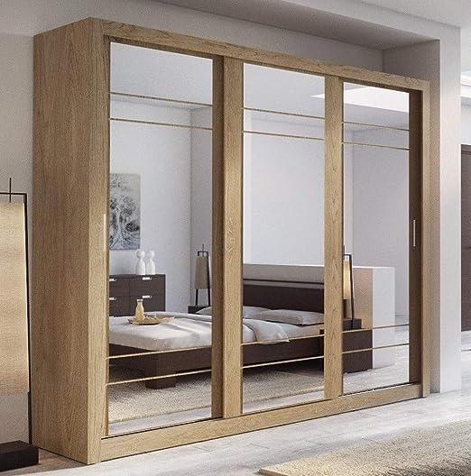 Arthauss – Armario con puerta corredera y espejo Arti 2, 250 cm, de roble Shetland: Amazon.es: Hogar