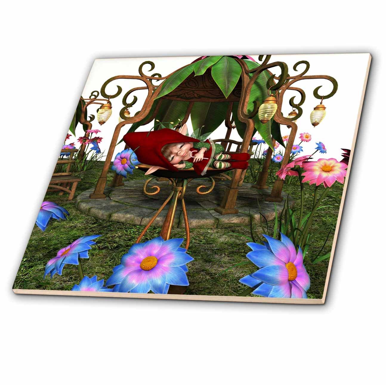 3dRose Spiritual Awakenings Fairies - Sleeping baby fairy in a garden fountain among the flowers - 12 Inch Ceramic Tile (ct_273421_4)