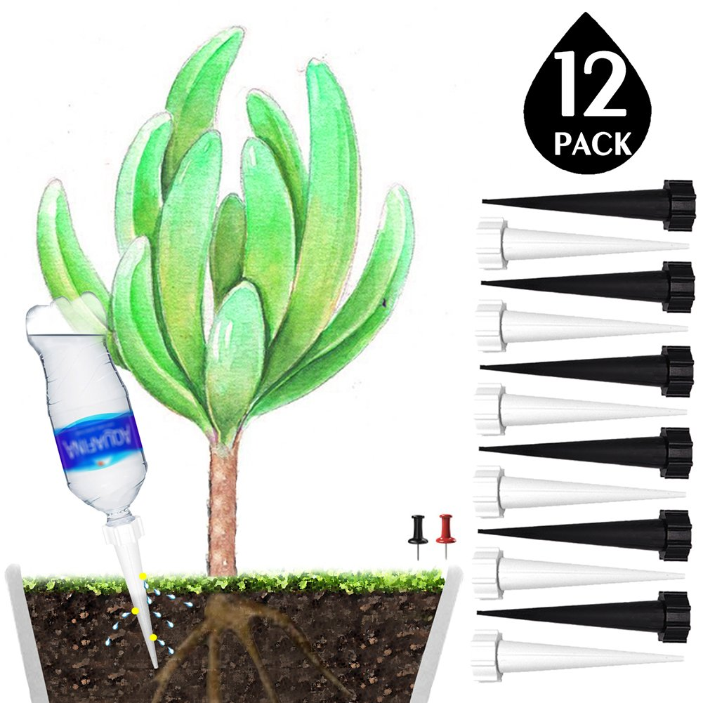 DCZTELG Plant Waterer Spikes Devices System-Automatic Drip Irrigation Watering Care Your Flower Travel Forgetting Potted Plants Black&White (12pack)